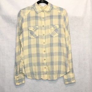 American Eagle 14 Top Shirt Yellow Plaid Cotton